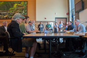 Conservationists testifying at a Board of Forestry meeting