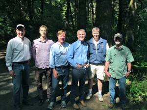 Governor Kitzhaber with members of the North Coast State Forest Coalition in the Gales Creek Conservation Ares